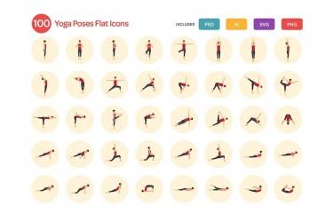 100个瑜伽动作图标素材