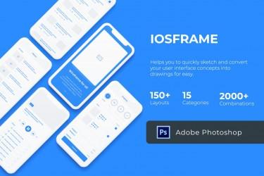 时尚简约的iOS线框图模板素材