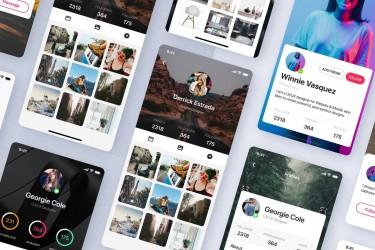 时尚风格的社交app ui设计模板