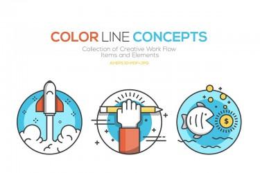 创意主题的彩色线性图标素材