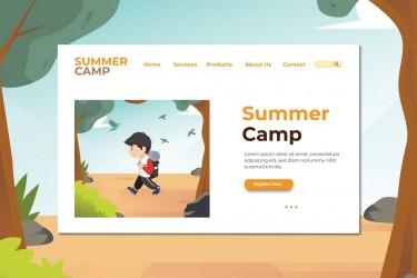网站着陆页儿童夏令营插画素材