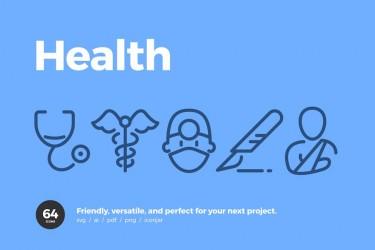 俏皮可爱的医疗健康图标矢量素材