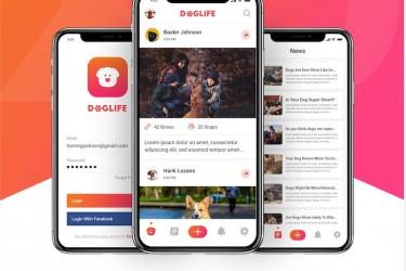 宠物狗社交app界面设计模板
