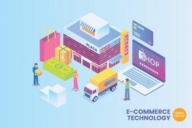商业科技网站着陆页2.5D插画素材