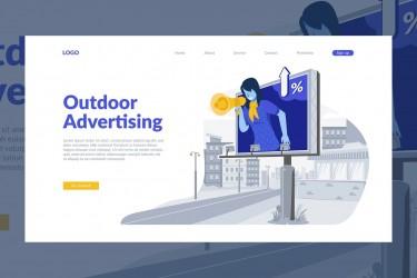 扁平化风格的营销广告着陆页插画