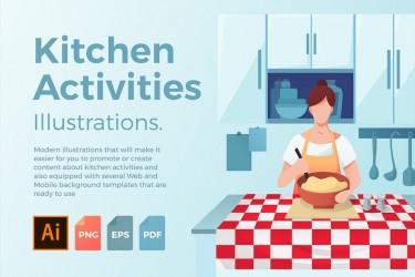 5个厨房做饭场景插画矢量素材