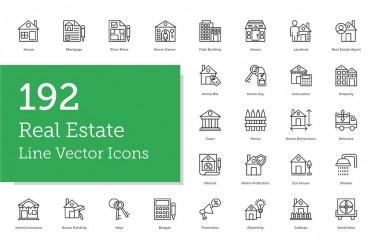 192个房地产相关的线性图标素材