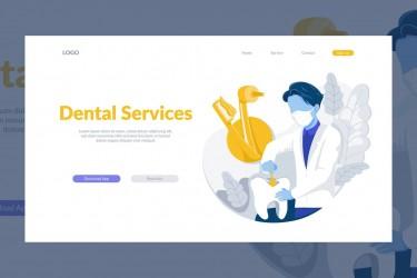 扁平化风格的牙科医院着陆页插画