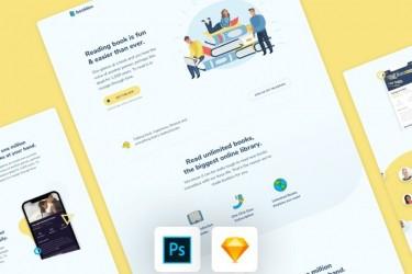 小清新的插画风格网站着陆页模板