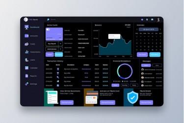 深色的财务金融管理仪表盘设计模板