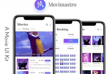 浅色简洁的电影购票app ui设计模板