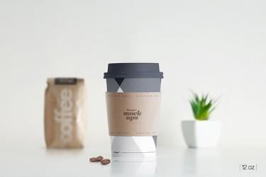环保的一次性咖啡杯样机素材