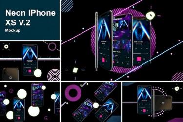 霓虹灯效果的iPhone XS样机素材