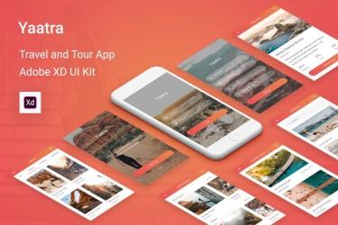简洁精美的旅行指南app 设计模板