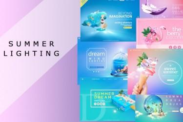 梦幻童话风格的横幅广告设计模板