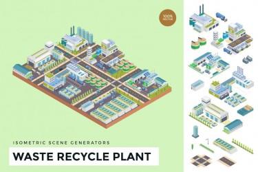 2.5D风格的城市垃圾回收插画