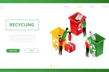 2.5D风格的垃圾分类回收插画素材