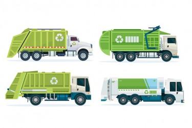 环保垃圾分类回收车插画素材