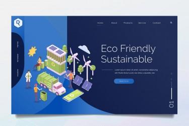 环保主题的网站着陆页插画素材