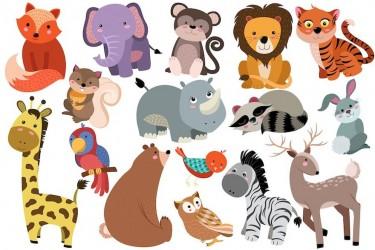 可爱的卡通动物插画素材