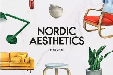 22个北欧风格的手绘家具插画