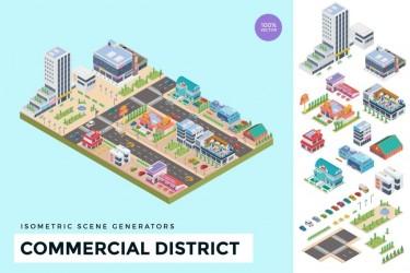 2.5D等轴城市建筑商业场景插画