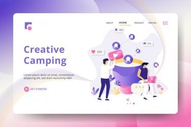 企业网站营销着陆页插画素材