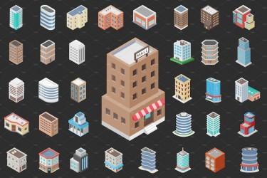 2.5D风格的建筑矢量图标素材