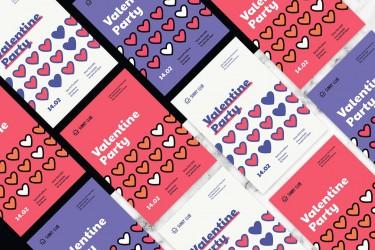 扁平化风格的七夕情人节海报设计模板