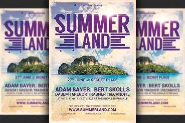 夏季海岛风光宣传海报设计模板
