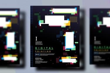 波谱风格的宣传海报设计模板