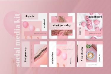 免费的粉色系广告海报设计模板