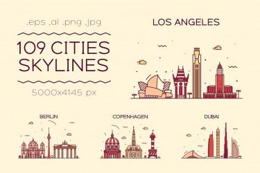 有趣可爱的城市建筑插画素材