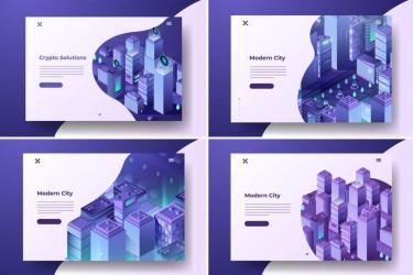 紫色科技感的网页banner插画素材