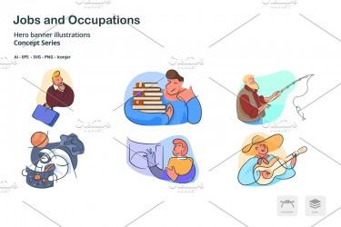 14个不同职业人物插画图标素材