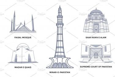 巴基斯坦地标建筑矢量插画素材