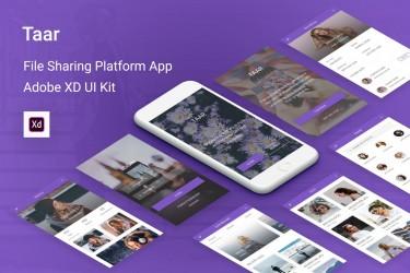 紫色图片文件共享app ui设计模板