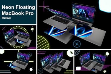 霓虹灯效果的MacBook Pro样机素材