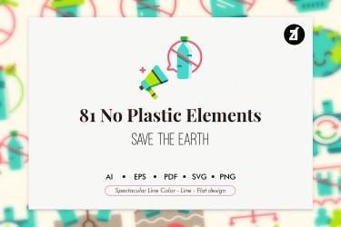 无塑运动与环保主题矢量插画素材