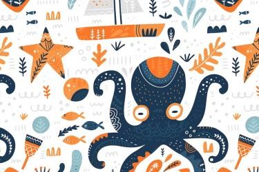 北欧风格的海洋主题插画素材