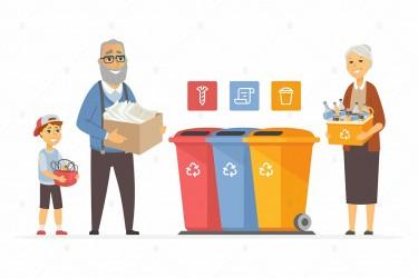 垃圾分类回收场景矢量插画素材