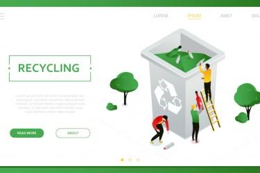 夸张风格的垃圾分类回收矢量插画素材
