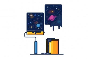 免费的酷炫星空宇宙粉刷插画素材
