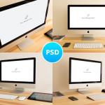 4张苹果imac电脑场景展示效果图PSD素材分享