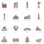 332个插画风格的城市代表性建筑图标设计欣赏