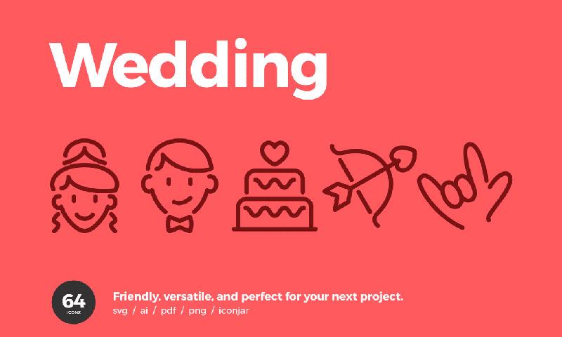 64个俏皮的婚礼用途图标